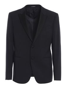 Emporio Armani - Satin lapels wool blend suit in blue