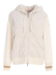 Moncler - Cardigan bianco in cotone con logo