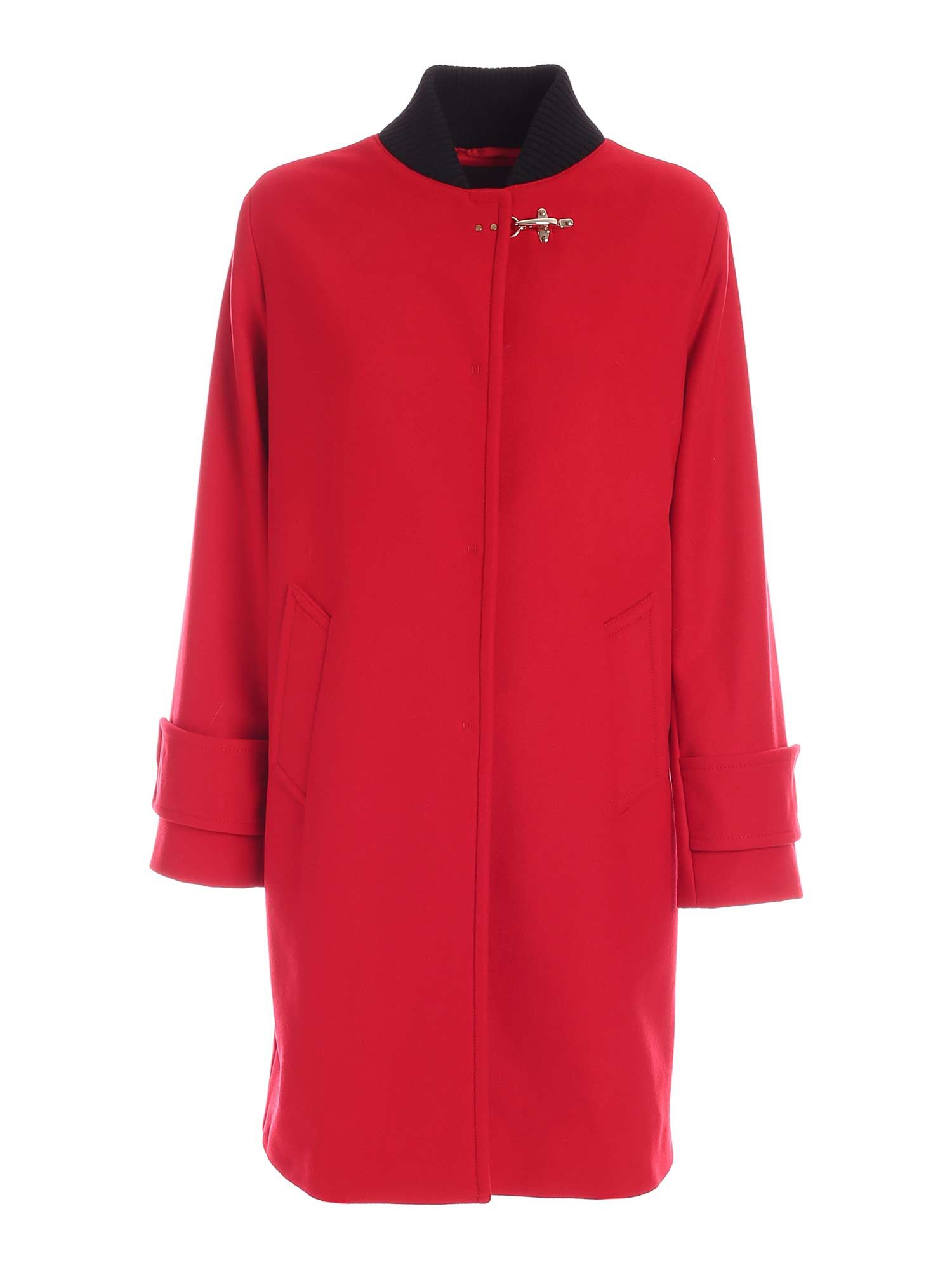 Fay LINED COAT IN RED