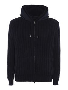 Herno - Ribbed knitted jacket in blue