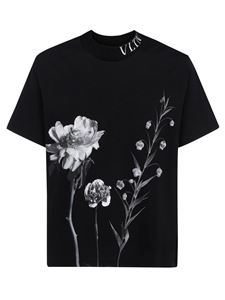 Valentino - Floral printed T-shirt in black