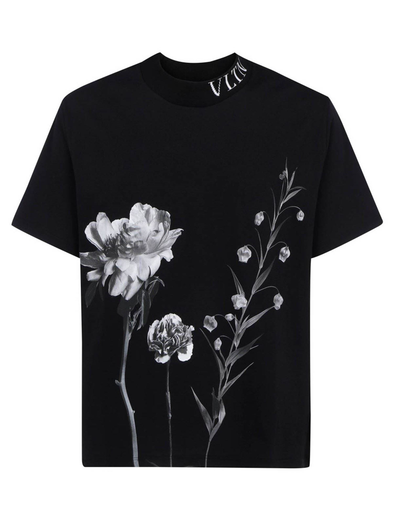 Valentino FLORAL PRINTED T-SHIRT IN BLACK