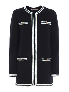 Tory Burch - Kedra sequin trim cardigan in blue