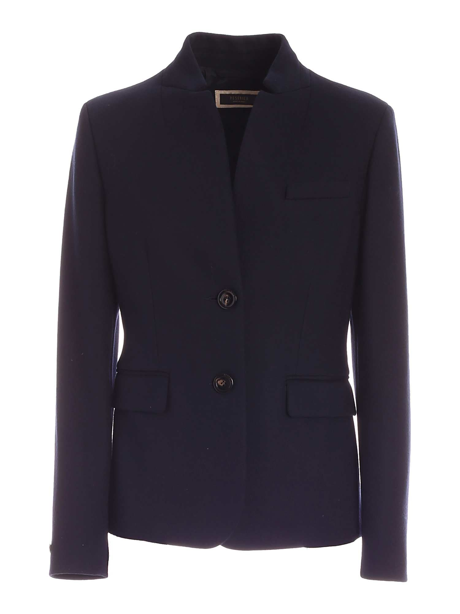 Peserico SEMI-LINED SINGLE-BREASTED JACKET IN BLUE