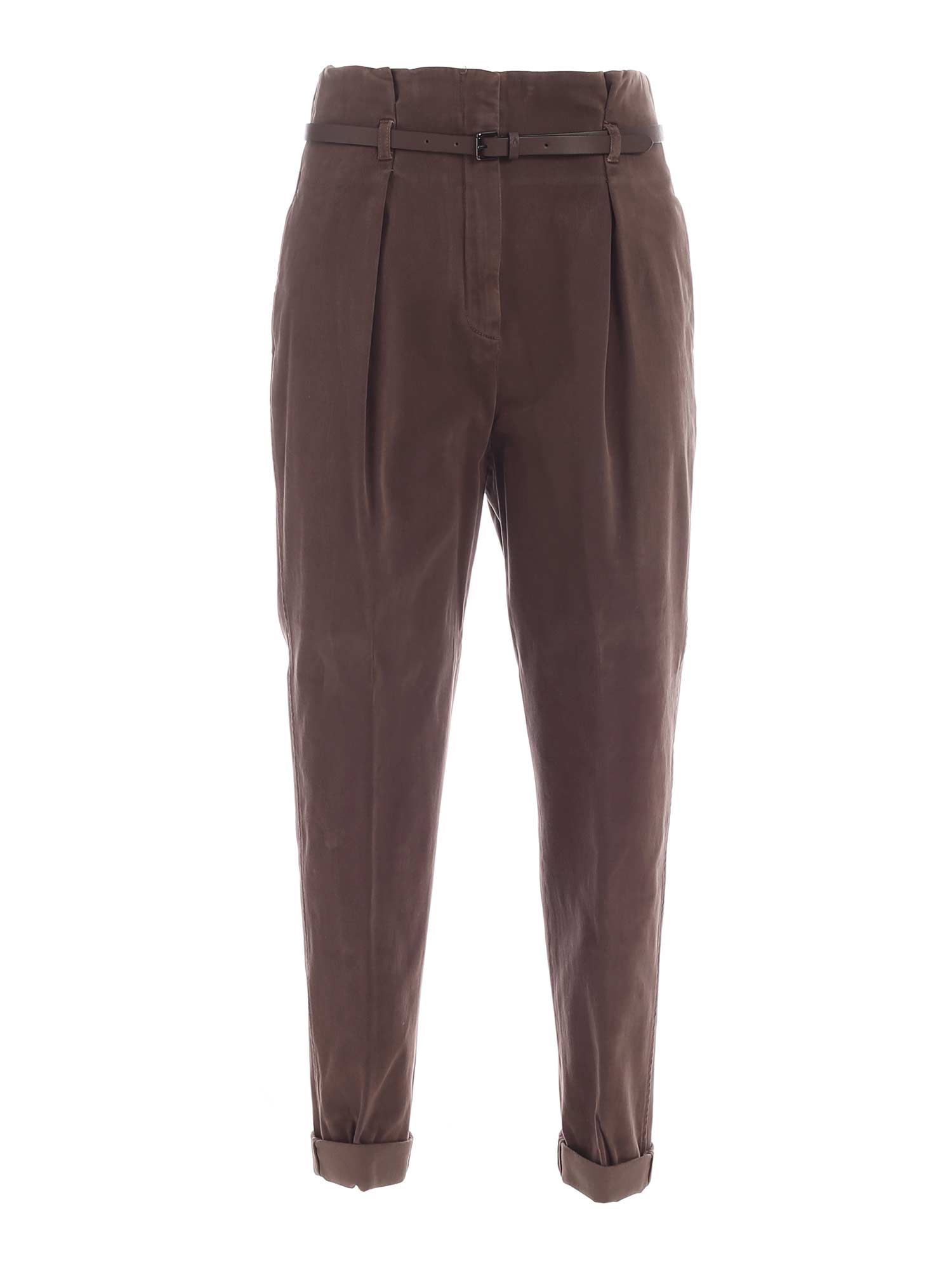 Peserico STITCHED TURN-UP PANTS IN BROWN