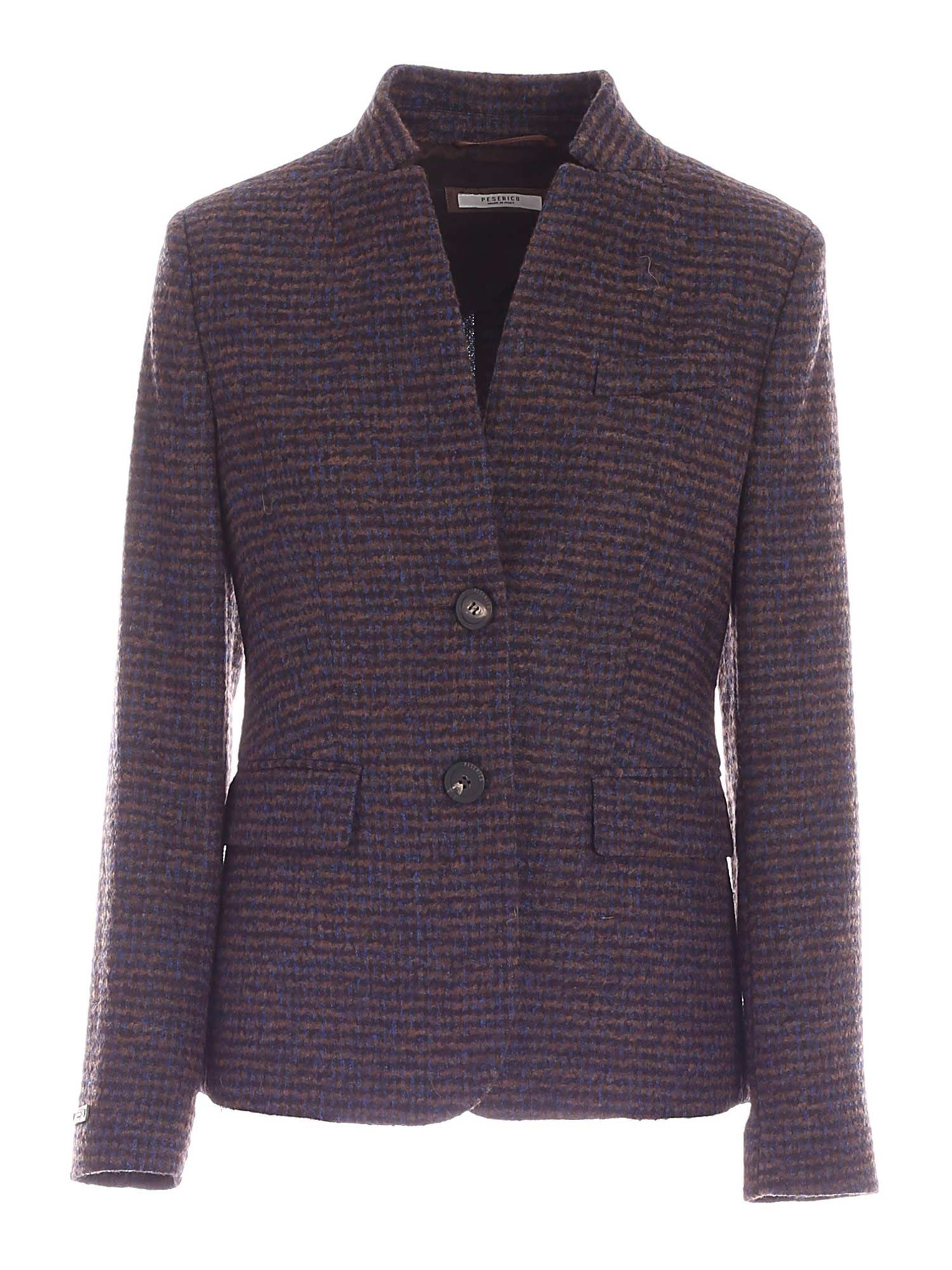 Peserico SINGLE-BREASTED STRIPED JACKET IN BLUE