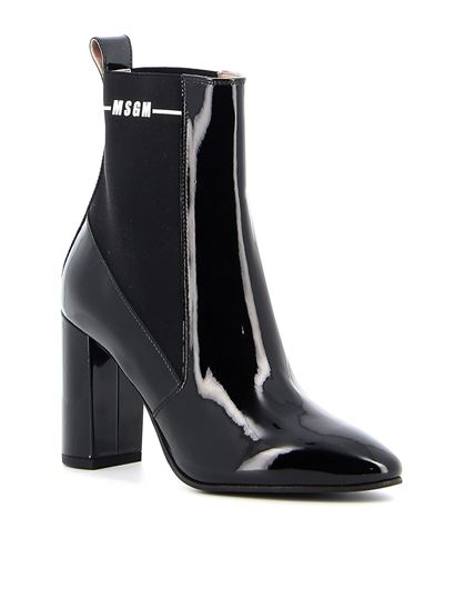 MSGM - Patent leather ankle boots in black
