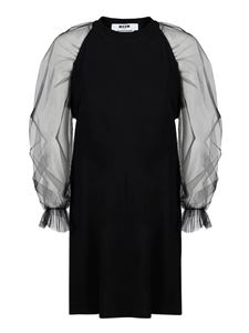 MSGM - See-through sleeve dress in black