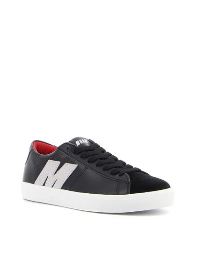 MSGM - Suede and leather sneakers in black
