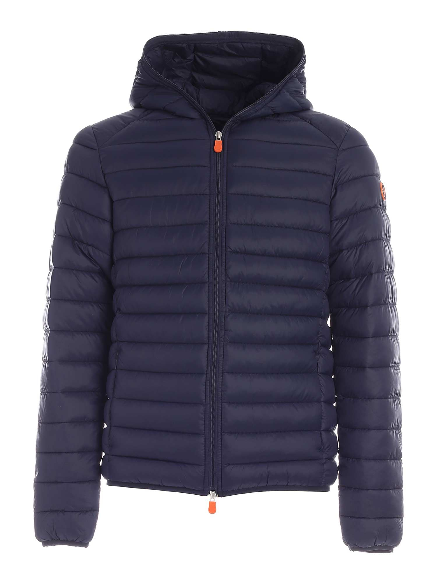 Save The Duck LOGO PATCH QUILTED DOWN JACKET IN BLUE
