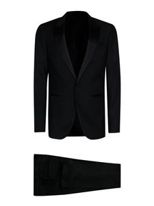 Lanvin - Satin detail wool suit in black