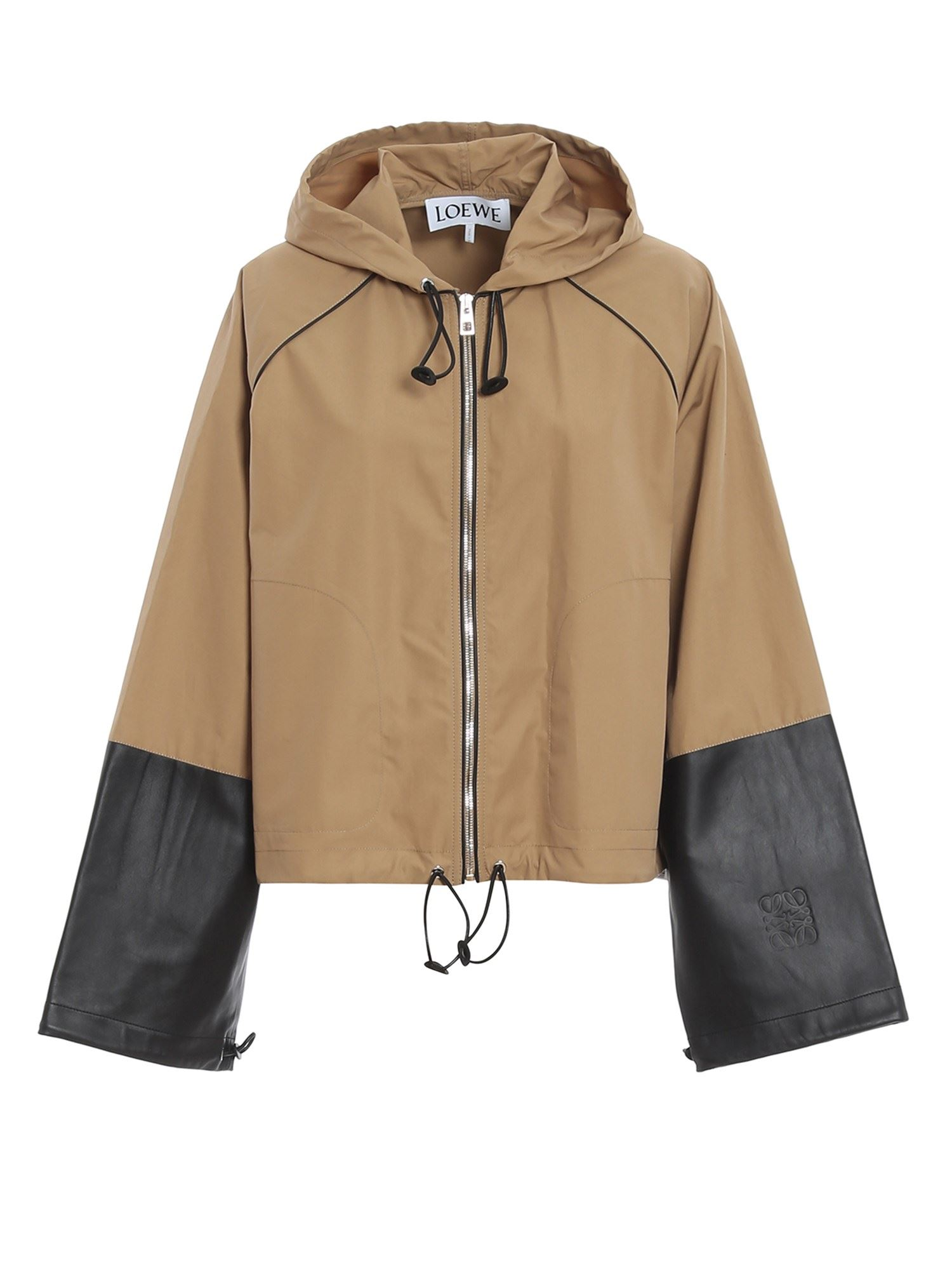Loewe HOODED JACKET WITH CALFSKIN CUFFS IN BEIGE
