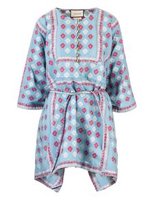 Gucci - Floral GG kaftan dress in light blue