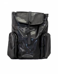 Rains - Multi-pocket backpack in shiny black