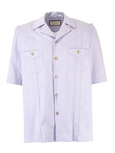 Gucci - Short sleeve Oxford shirt in light blue