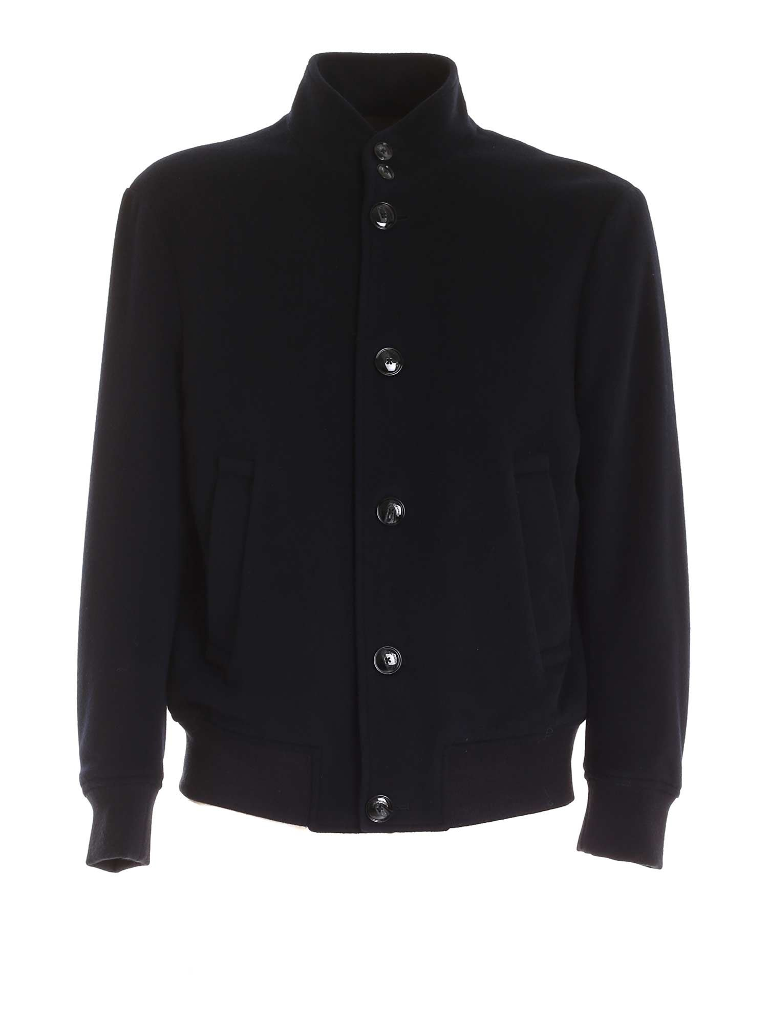 Emporio Armani VIRGIN WOOL AND CASHMERE JACKET IN BLUE
