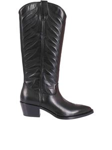 Ash - Mustang leather Delirium boots in black
