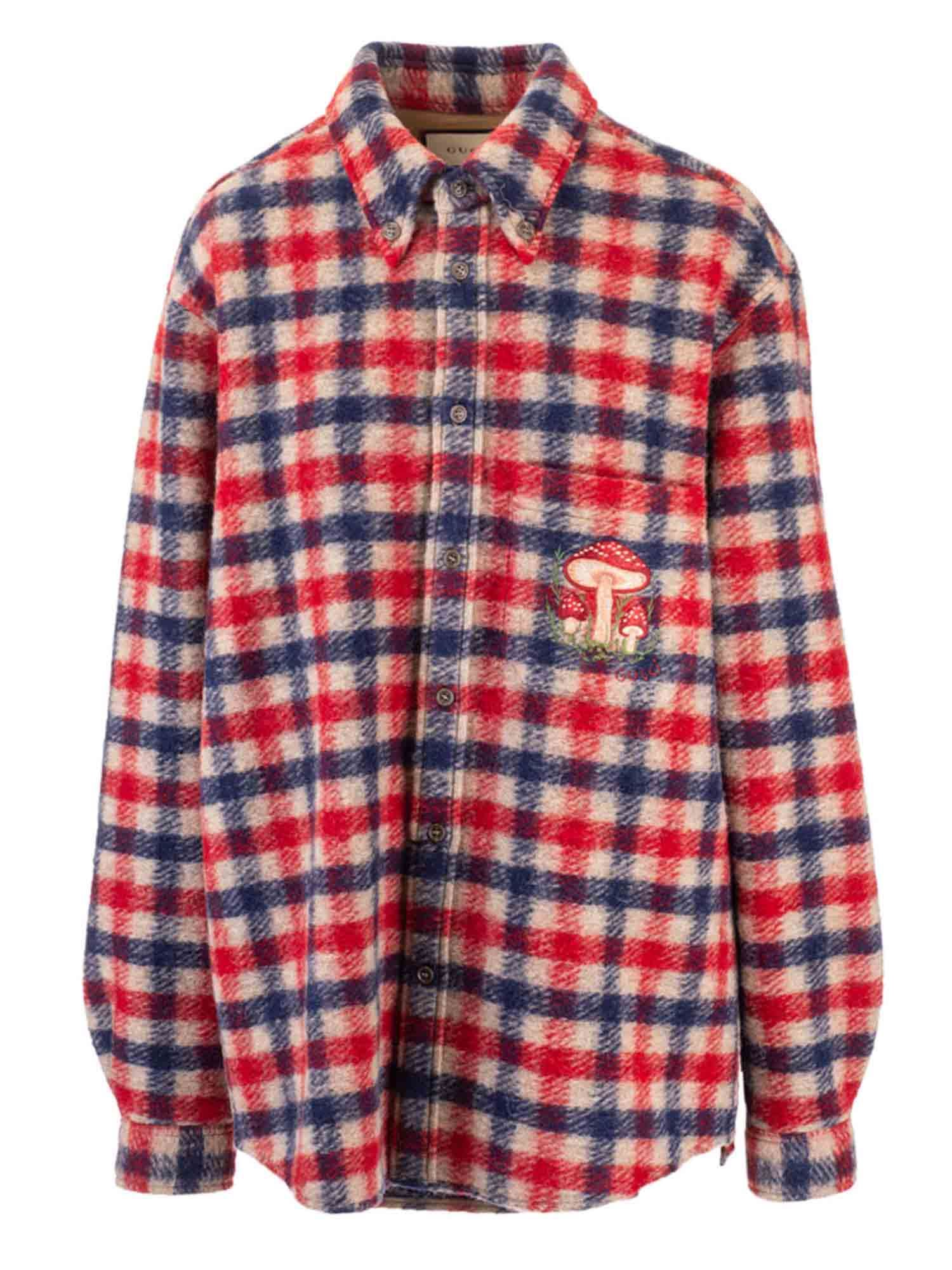 Gucci CHECKED SHIRT IN RED AND BLUE