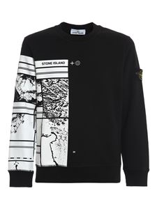 Stone Island - Crewneck jersey cotton sweatshirt in black
