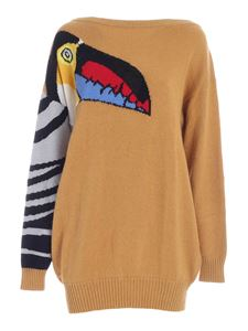 Stella Jean - Toucan inlay pullover in camel color