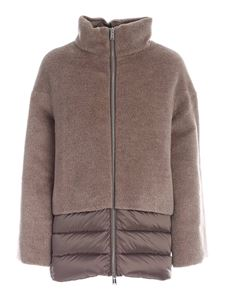 ADD - Wool and mohair detail down jacket in brown