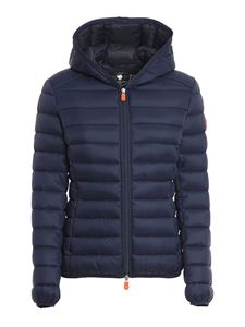 Save the duck - Quilted hooded jacket in blue
