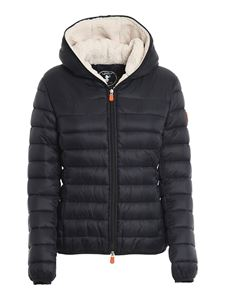Save the duck - Quilted hooded jacket in black