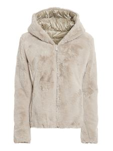 Save the duck - Faux fur and nylon reversible padded jacket in beige