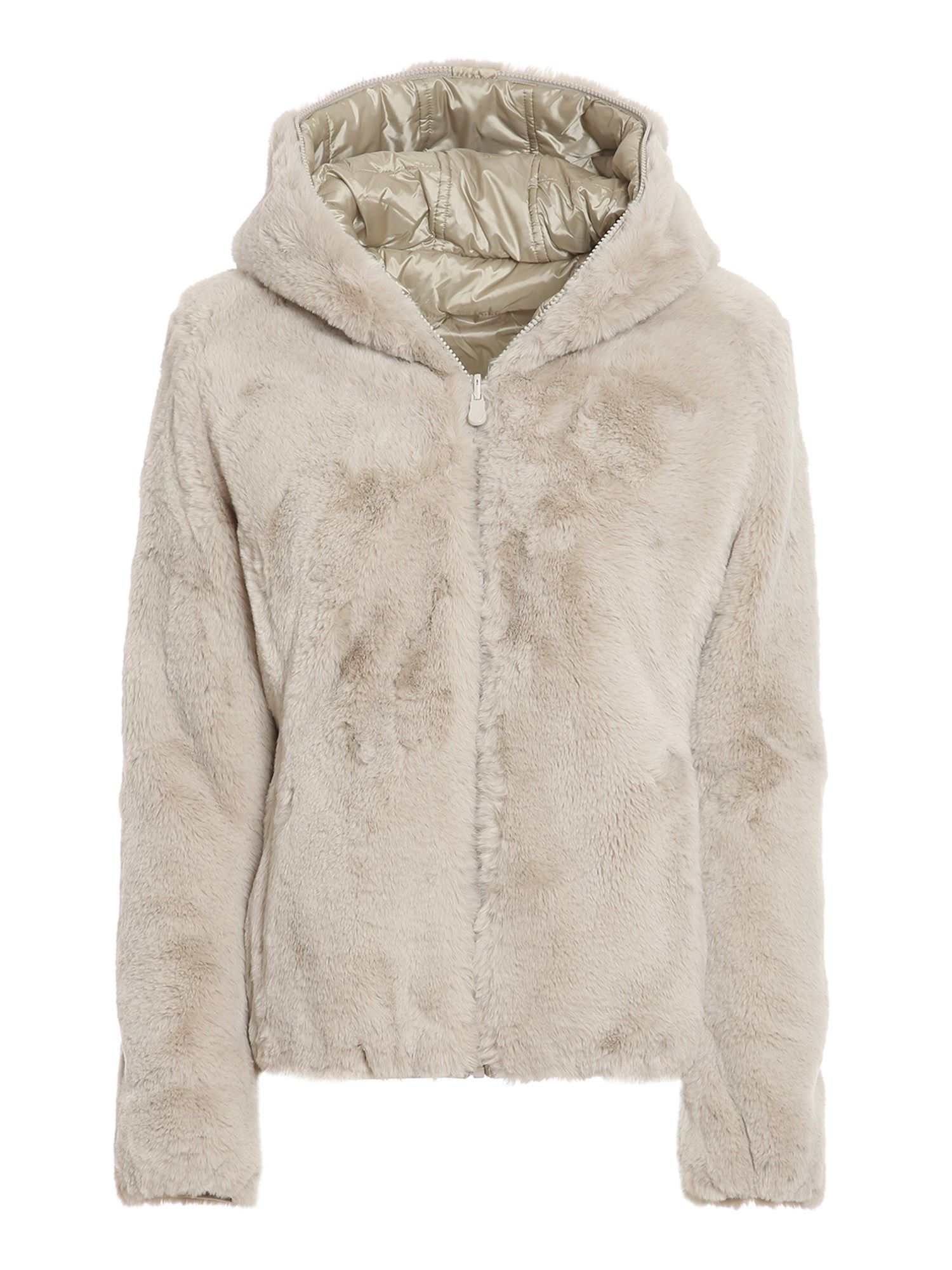Save The Duck FAUX FUR AND NYLON REVERSIBLE PADDED JACKET IN BEIGE