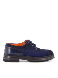 Santoni - Brogue in camoscio blu