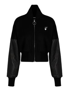 Off-White - Cropped bomber jacket in black