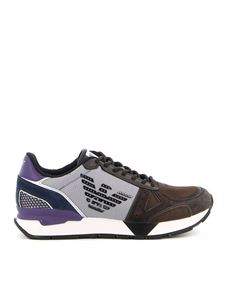Emporio Armani - Mesh and suede detail sneakers in brown