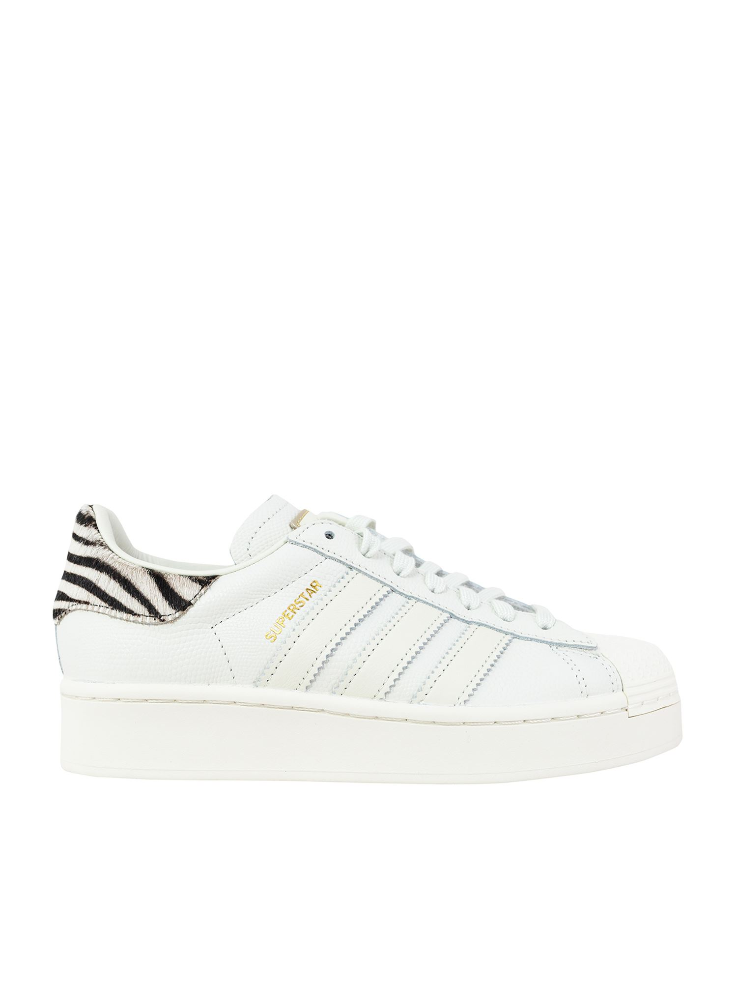 Adidas Originals ADIDAS ORIGINALS SUPERSTAR BOLD SNEAKERS IN WHITE AND ANIMALIER