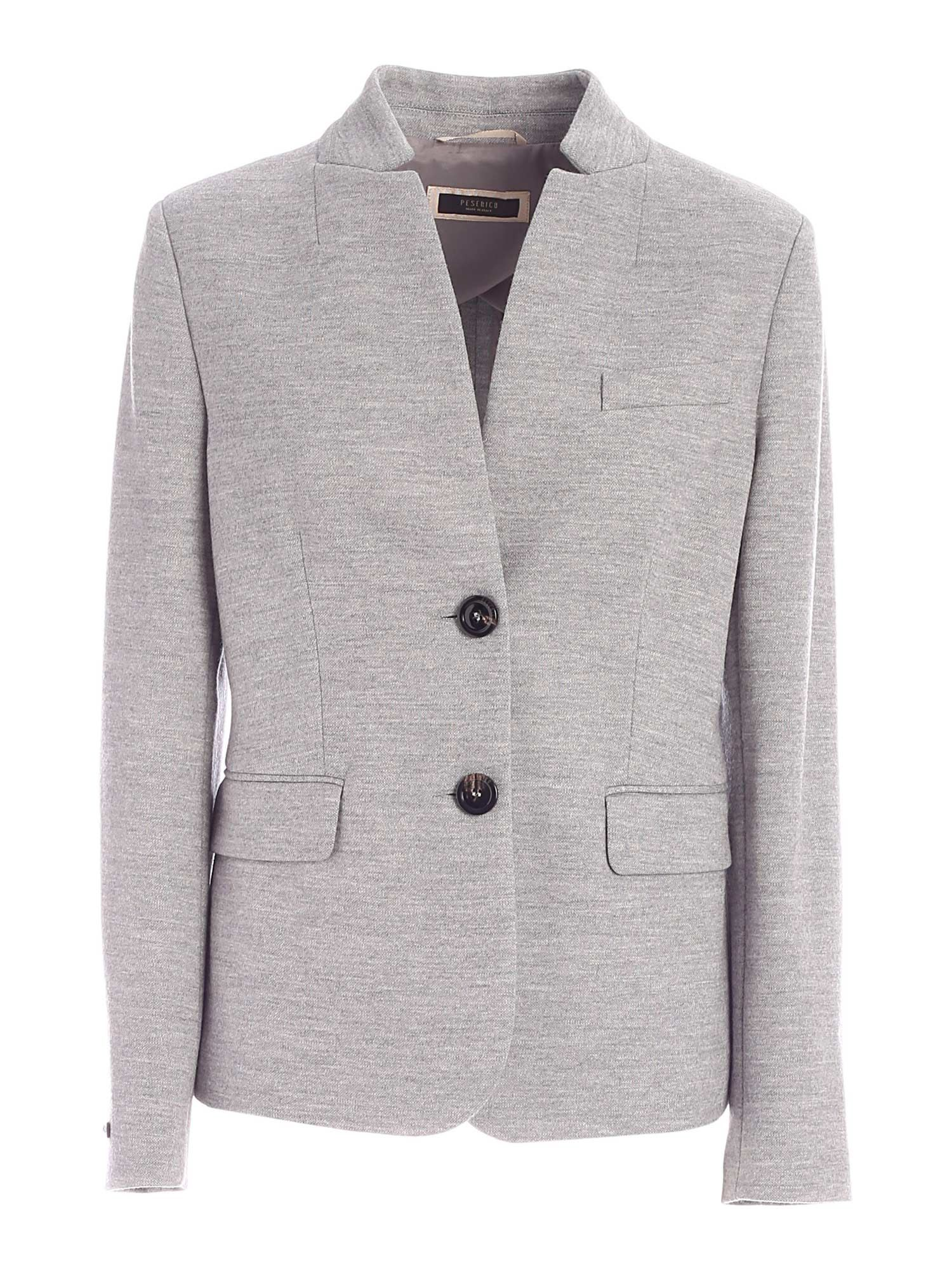 Peserico SEMI-LINED SINGLE-BREASTED JACKET IN GREY
