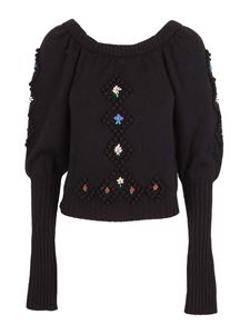 Philosophy di Lorenzo Serafini - Embroidered detailed wool sweater in black