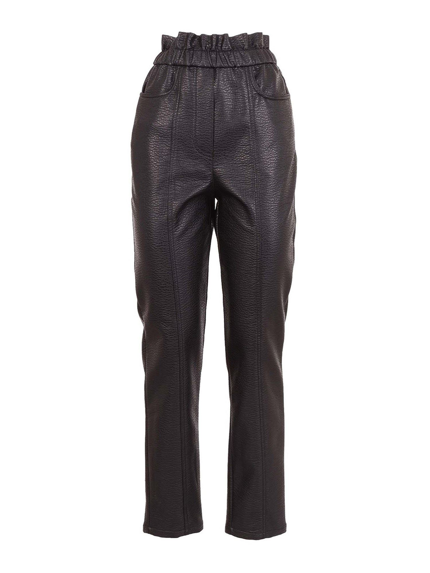 PHILOSOPHY DI LORENZO SERAFINI FAUX LEATHER TROUSERS IN BLACK