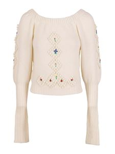 Philosophy di Lorenzo Serafini - Embroidered detailed wool sweater in cream color
