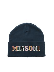 Missoni - Logo embroidery beanie in blue
