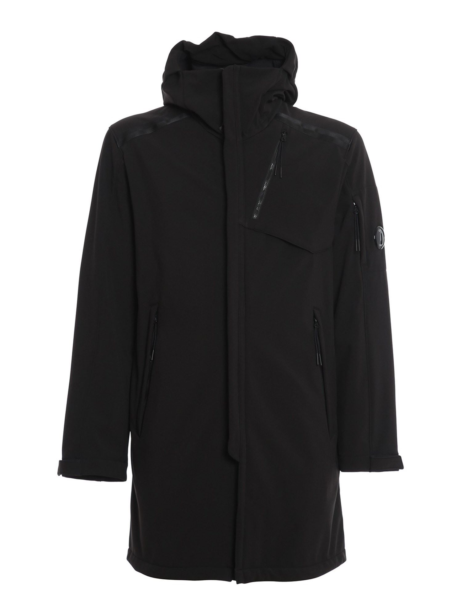 C.P. COMPANY C.P. SHELL HOODED LENS PARKA IN BLACK