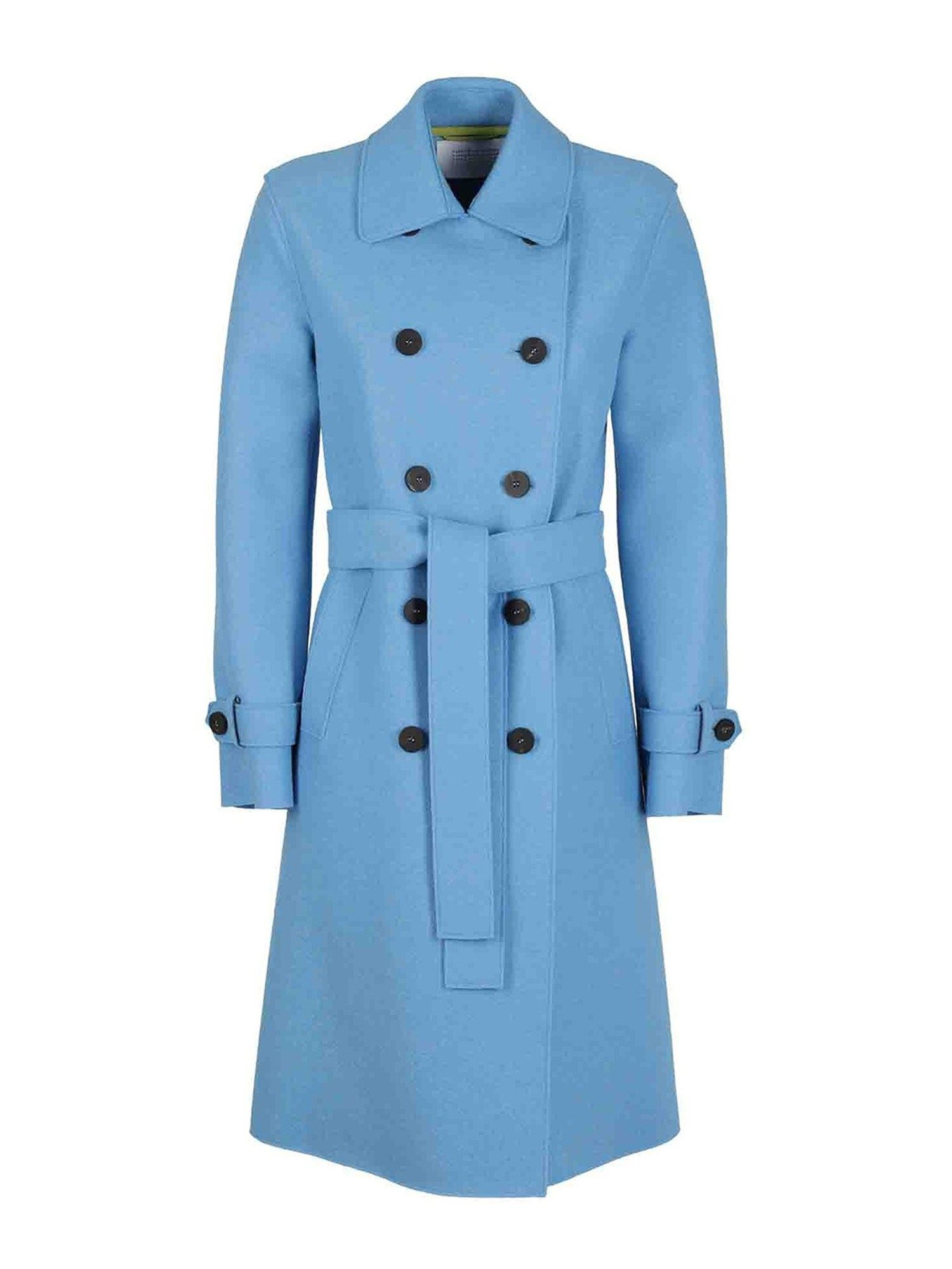 Harris Wharf London A LINE WOOL TRENCH COAT IN LIGHT BLUE