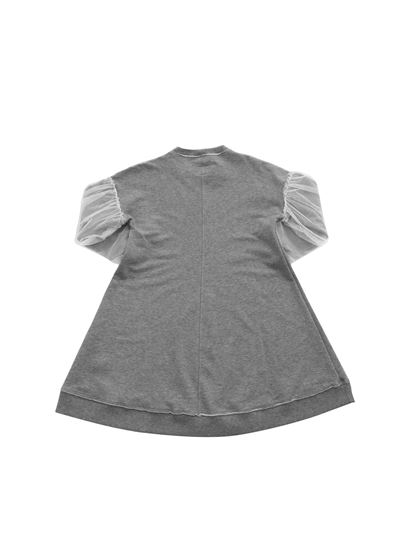 Il Gufo - Tulle sleeves dress in grey