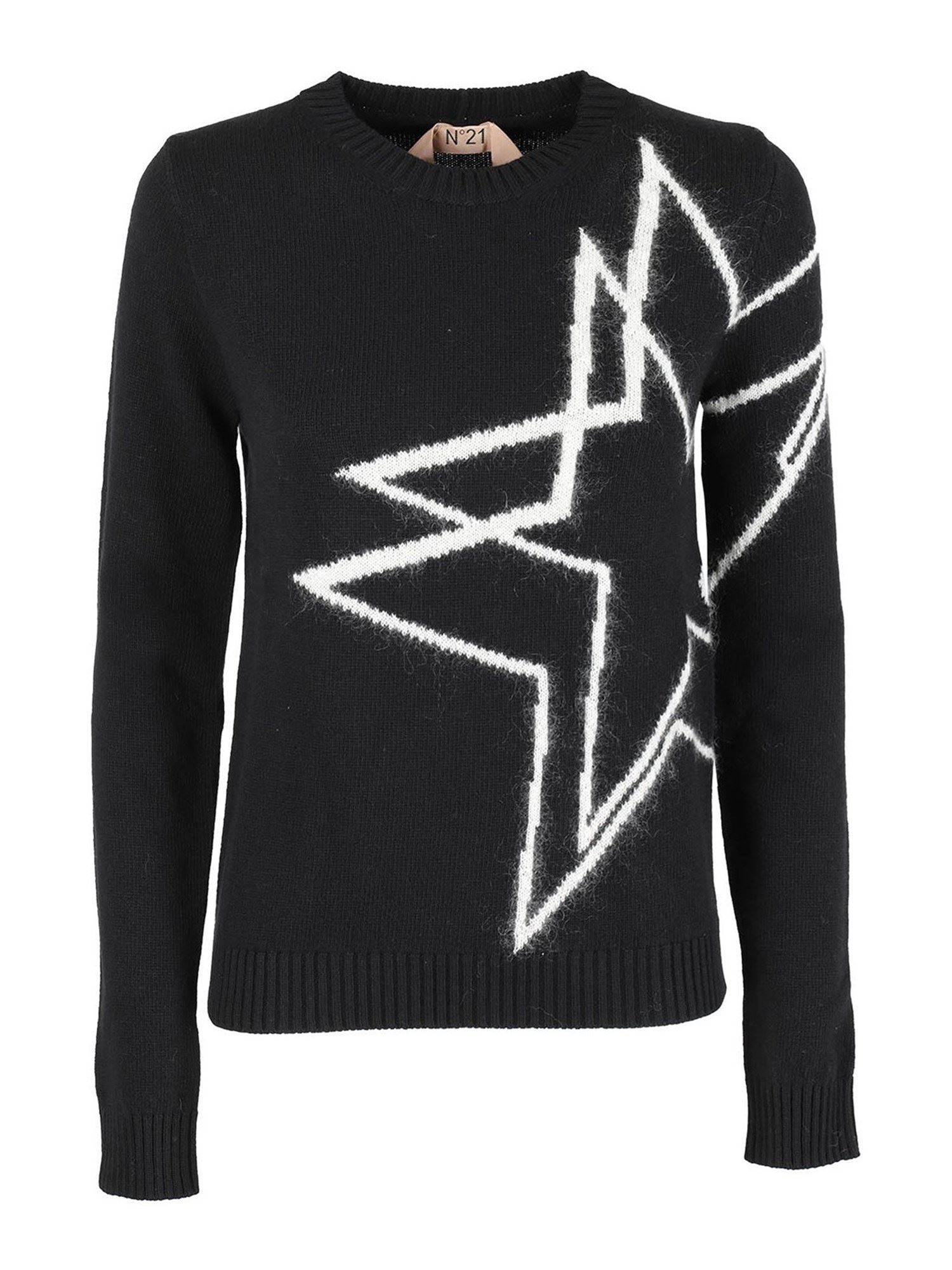 N°21 STAR LOGO CREWNECK IN BLACK