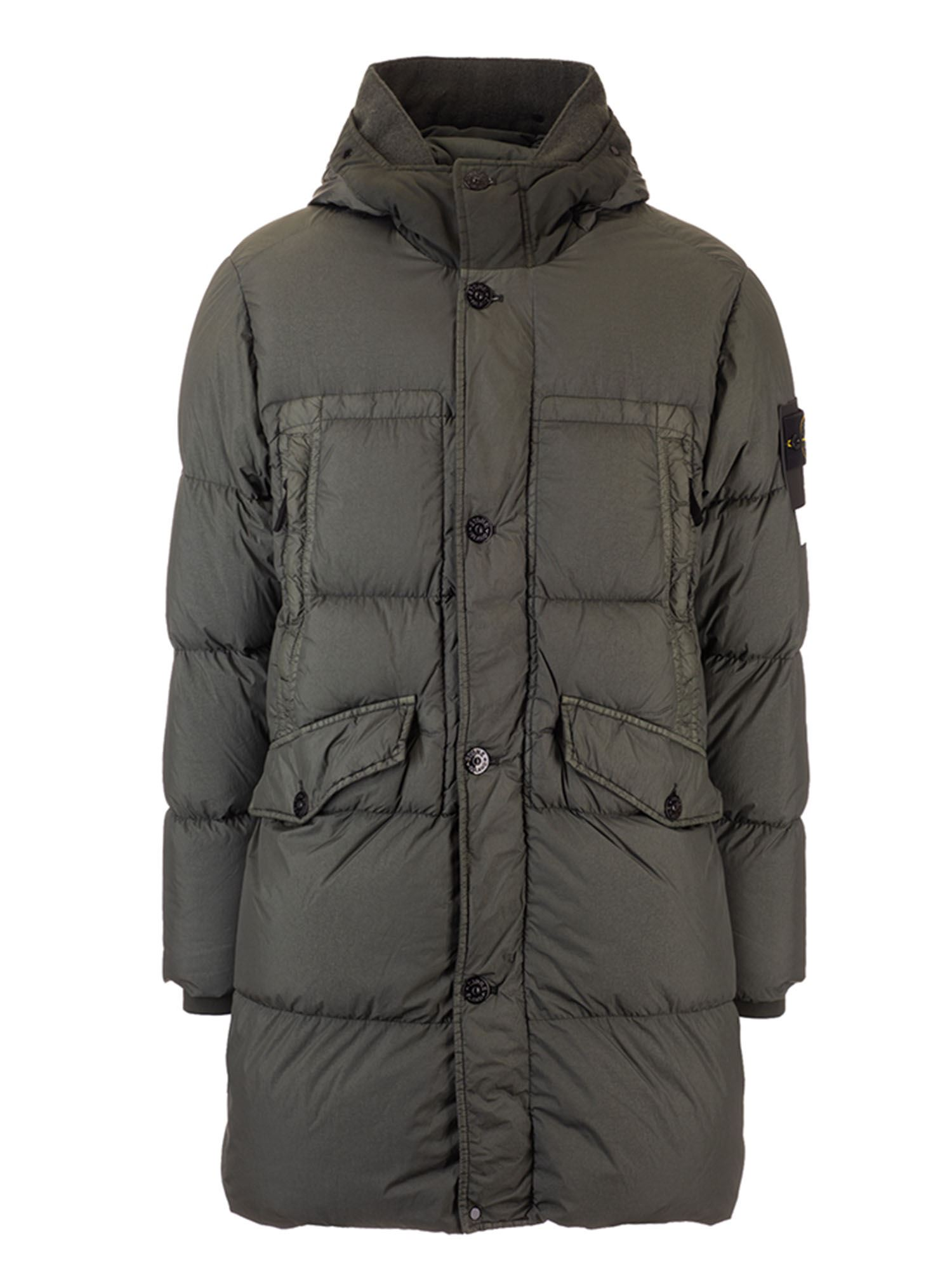 Stone Island CRINKLE REPS DOWN JACKET IN MOSS COLOR