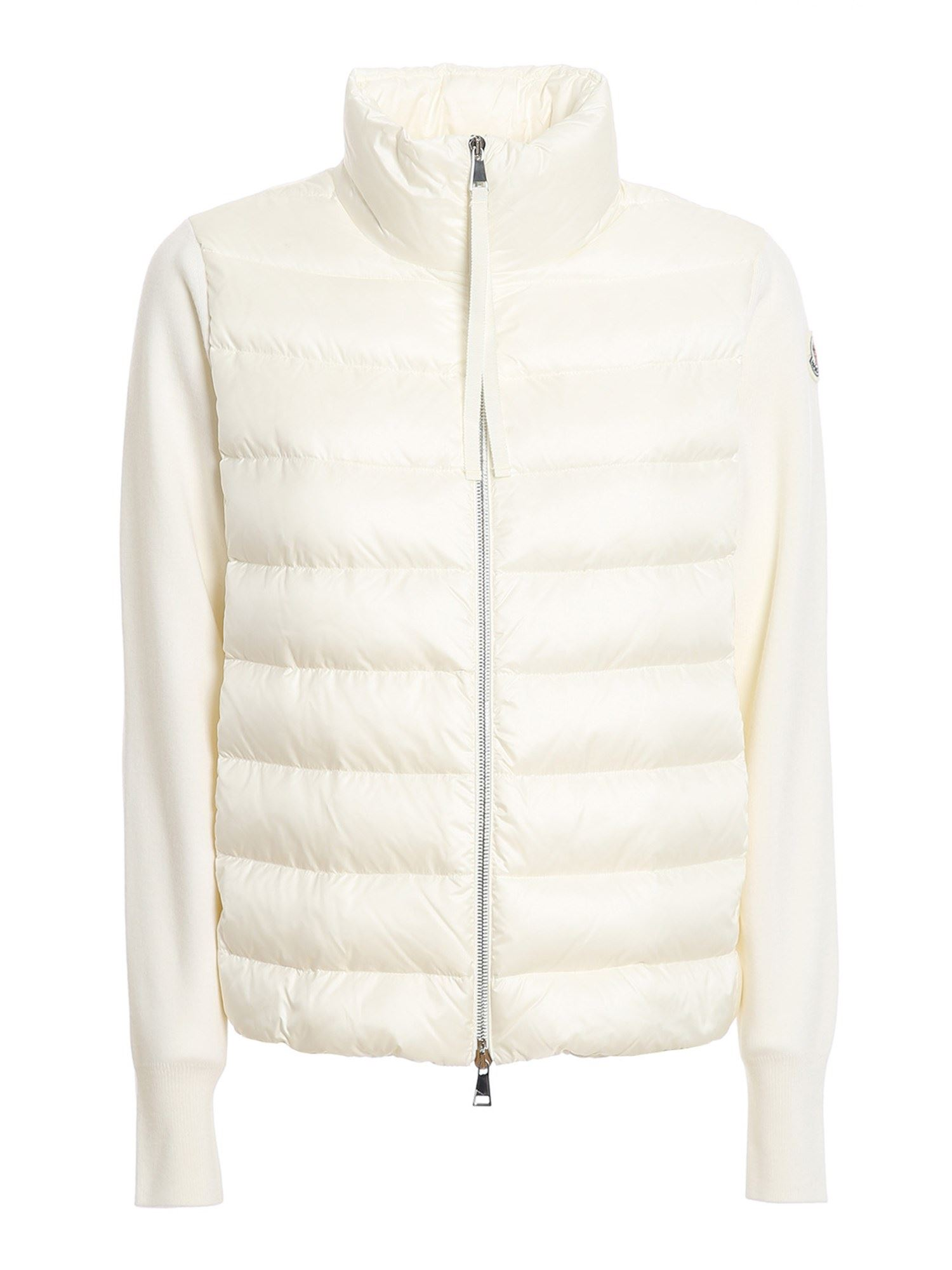 Moncler PADDED FRONT CARDIGAN IN WHITE