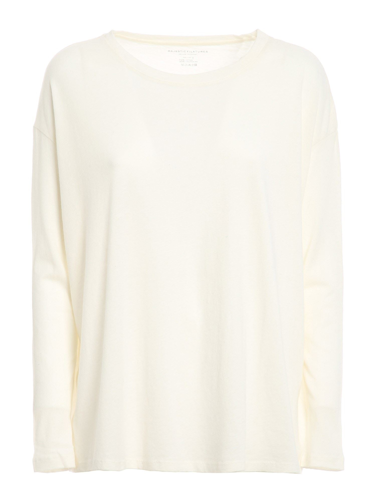 MAJESTIC MAJESTIC FILATURES CASHMERE BLEND T-SHIRT IN WHITE