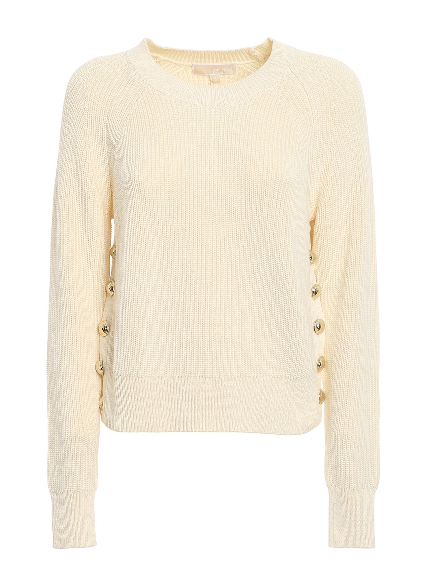 Michael Kors SIDE BUTTONS SWEATER IN WHITE