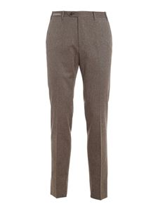 Corneliani - Pantaloni twill di in cotone stretch marrone