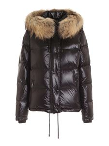 Fay - Hood and fur down jacket in black