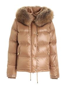 Fay - Hood and fur down jacket in brown