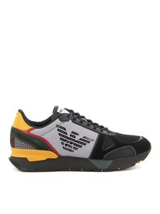 Emporio Armani - Mesh and suede detail sneakers in black